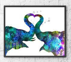 Love Art Watercolor Elephant Painting, Animal Wall Decor, Kiss Art, Blue Watercolor Art Print, Animal Art Illustration - 438A by Thenobleowl on Etsy https://www.etsy.com/listing/218850074/love-art-watercolor-elephant-painting