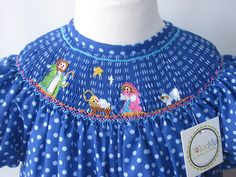 Nativity Smocked bishop dress Christmas for girls babies szs 6m, 2T, 3T. $49.00, via Etsy.