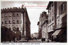 Piazza Santa Trinita, anni 40(?) #Firenze, con la granitica colonna al centro. https://www.facebook.com/firenzepococonosciuta/photos/a.743209255725438.1073741914.532426000137099/794558607257169/?type=1&theater …
