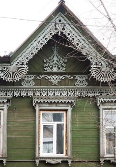 traditional decorative carved wood window frame + trim, irkutsk, russia | architectural details