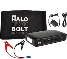 HALO Bolt Portable Charger Car Jump Starter W LED Floodlight Black 0nly