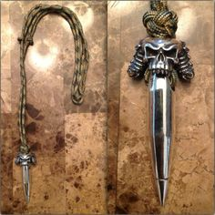R2RK Silver Demon Skull Bead & Bullet Paracord Necklace