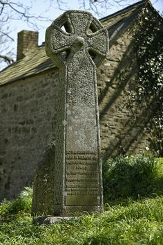 Cornish cross erected for drowned seamen in Morwenstow churchyard, Cornwall.