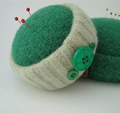 pincushion made of recycled sweaters