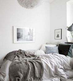 Making cozy bedroom decor ideas come true doesn't always require a fancy budget. Below, we have a series of pictures that will show you how to nail a cozy bedroom look. Before you wonder how to arrange a cozy bedroom,… Continue Reading → White Bedding Decor, Grey And White Bedding, White Bed Sheets, Comfy Bedroom, Trendy Bedroom, Cozy White Bedroom, Cozy Bedroom Decor, Coziest Bedroom, Cozy Room