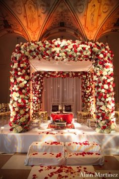 The Indian wedding ceremony mandap. A photograph showing the the floral used to decorate the entire mandap.