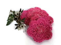 Cotton Spa Scrubbies Pink Ombre Crochet Handmade by MimisPearTree