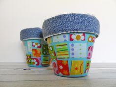 Denim & Fabric Scrap Pots with tutorial