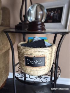 Using sisal rope and a glue gun, I transformed an ugly thrift store basket into… Hanging Wire Basket, Rope Basket, Chalkboard Tags, Diy Home Decor Projects, Decor Ideas, Craft Ideas, Craft Projects, Diy Ideas, Decorating Ideas