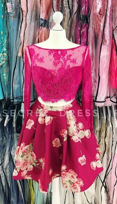 Two Piece Short Homecoming Dress, Floral Long Sleeves Party Dress from dreamdressy Best Prom Dresses, Dance Dresses, Homecoming Dresses, Party Dresses, Formal Dresses, Graduation Dresses, Stunning Dresses, Special Occasion Dresses, Sexy Bikini