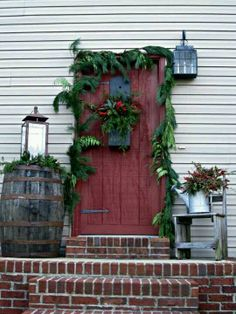 Prim Front Door & Porch Christmas...