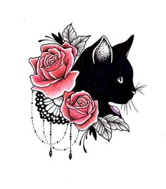 Black Cat Tattoo Design Ideas With Meaning - The Black Cat Tat Symbolizes Feminism Women Independence And Sexuality Even Though It Is More Common For Women To Ink Black Cat Tattoos You Can Find Lots Of Male Black Cat Tattoo Designs Thatx Rose Tattoos, New Tattoos, Body Art Tattoos, Sleeve Tattoos, Tatoos, Tattoo Ink, Floral Tattoos, Tattoo Outline, Ankle Tattoos