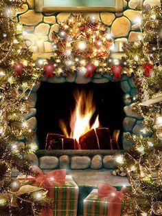 fireplace with gifts around it.......http://www.pinterest.com/annefromla/holiday-christmas/