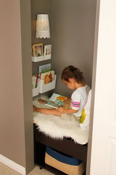 kids reading nook in closet