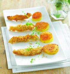Goujonnettes de sole au sésame et pommes de terre Palets dor - Recettes de cuisine Ôdélices