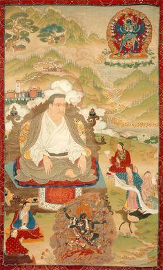 Tibetan Buddhist Thangka of Marpa (Kagyu Lineage Master)