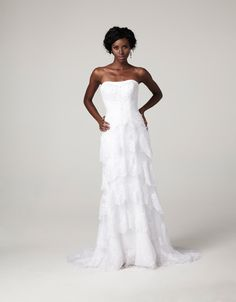 Strapless soft and sheath layered lace gown