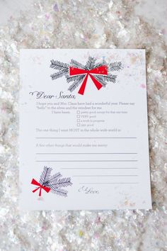 Dear Santa Christmas Wish List Printables