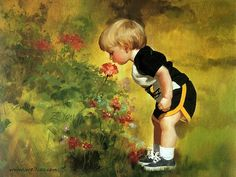 Heartwarming Childhood Dreams : Donald Zolan's Oil Paintings of Early Childhood 25 painting_children_childhood_kjb_DonaldZolan_34GrandmasGarden_sm - Wallcoo.net