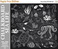 70% OFF SALE Chalkboard Sea Life Clip Art  Underwater Fish