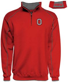 J America Men's Ohio State Buckeyes Piped Quarter-Zip Pullover - Red M
