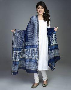 Silk Cotton Chanderi Printed Patti Dupatta