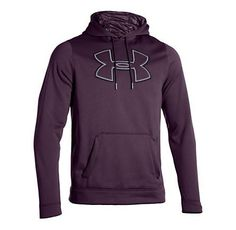 You gotta love this sweatshirt!  Look stylish and stay dry in the water repellent Men's Under Armour Fleece Storm Outline Big Logo Long Sleeve Hoody at Road Runner Sports