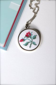 Hand embroidered floral necklace Flower necklace by byKALYNKA – Valentine's Day Tiny Cross Stitch, Cross Stitch Designs, Cross Stitch Patterns, Cross Stitching, Cross Stitch Embroidery, Hand Embroidery, Minis, Red Rose Flower, Red Roses