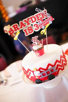 Adorable cake at a Fire Truck fireman Themed Birthday Party
