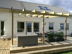 There are lots of pergola designs for you to choose from. You can choose the design based on various factors. First of all you have to decide where you are going to have your pergola and how much shade you want. Pergola Kits, Building A Pergola, Backyard Design, Exterior Design, Outdoor Space, Pergola With Roof, White Pergola, Pergola Designs, Pergola Attached To House