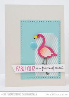Tickled Pink, Cross-Stitch Rectangle STAX Die-namics, Flamingos Die-namics, Stitched Traditional Tag STAX Die-namics - Vera Wirianta Yates  #mftstamps