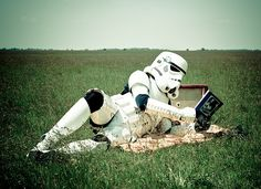 Even a stormtrooper can use a lovely afternoon reading.