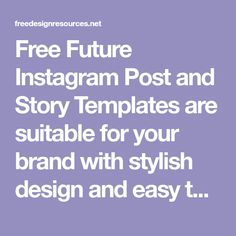 Free Future Instagram Post and Story Templates are suitable for your brand with stylish design and easy to use. It is also perfect for your product Social Media Banner, Instagram Story Template, Good Mood, Free Design, Photoshop, Templates, Future, Stylish, Instagram Posts