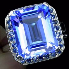 Natural 7CT Emerald Cut Carbibbean Blue Topaz Engagement Promise Wedding Anniversary Ring Size 6