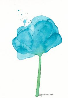 """Original watercolor abstract flower painting """"Turquoise Splash"""""""