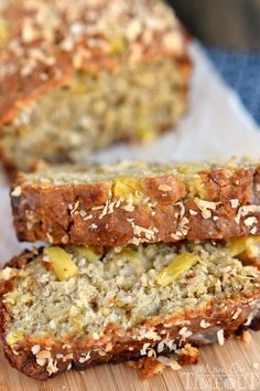 This easy Pina Colada Banana Bread recipe is our new favorite! Super moist and delicious banana bread topped with a pineapple-rum glaze and toasted coconut!