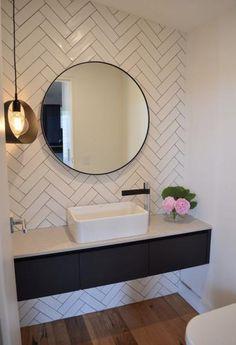 20 Trendy Bathroom Lighting Over Mirror Powder Rooms Floors Bathroom Mirror Design, Bathroom Wallpaper, Bathroom Wall Decor, Bathroom Colors, Bathroom Flooring, Bathroom Interior, Modern Bathroom, Small Bathroom, Bathroom Ideas