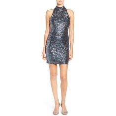 Women's Tfnc 'Paris' Sequin Body-Con Dress (2.631.990 VND) ❤ liked on Polyvore featuring dresses, multi sequin, body conscious dress, high neck bodycon dress, tfnc, high neckline dress and sequin body con dress