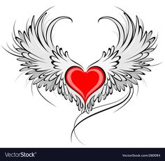 Red heart of an angel. Artistically painted red heart with angel wings gray, decorated with black smooth contour stock illustration Tribal Tattoos, Tattoos Skull, Celtic Tattoos, Wing Tattoos, Tatoos, Sleeve Tattoos, Coeur Tattoo, Heart With Wings Tattoo, Angel Vector