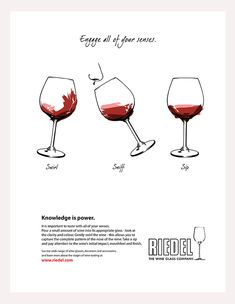 Riedel Wine Glass Company Ad - Engage your senses Wine Descriptions, Wine Tasting Party, Crystal Decanter, Wine Case, Creative Portfolio, Glass Company, Knowledge Is Power, Alcoholic Drinks, Campaign