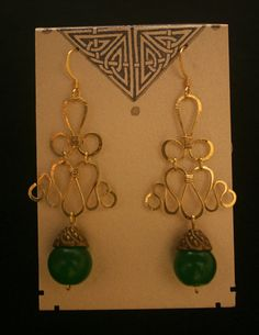 Hammered Brass Earrings With Green Peking by MysticMetalDesigns, $28.00