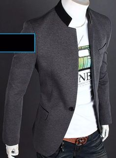 elegante blazer saco slim fit cuello mao envio gratis! 1 dia Mens Fashion Blazer, Suit Fashion, Mens Dress Outfits, Men Dress, Smart Casual Outfit, Casual Outfits, Blazers For Men Casual, Sewing Men, Waistcoat Men