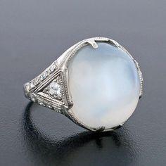A. Brandt + Son - Art Deco Platinum Moonstone & Diamond Ring