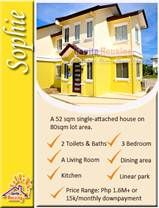 Floor Area:50 sqm Lot Area:80 sqm Bedrooms:3 Toilets:2  No cash out on downpayment, Installment basis at 0% interest. Only PHP 13k-14k monthly DP. - Kayang kaya mo na! Less than 30 minutes from Baclaran, SM Mall of Asia and Airport thru the NEW CAVITEX Expressway - shortcut way to avoid traffic hours along Bacoor! Contact us for free site tripping: Globe: 0917-8534875 ; Smart: 0999-9943304