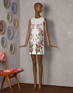 OLEANDER PRINT TUNIC DRESS Women's Short Dress | Dolce&Gabbana Online Store