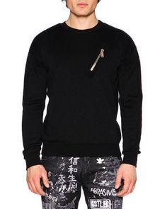 DSQUARED2 Ribbed-Sleeve Wool Moto Sweater, Black. #dsquared2 #cloth #