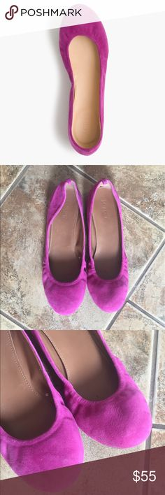 🌼HOST PICK🌼 J. Crew Magenta Suede Ballet Flats J. Crew Magenta Suede Ballet Flats  Size 8.5 in excellent Condition J. Crew Shoes Flats & Loafers