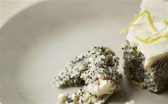 Amber Rose's poppy seed cake w/lemon topping. spelt flour.