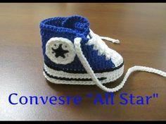 converse all star uncinetto/ crochet pattern all star converse Crochet Sole, Crochet Baby Booties, Crochet Slippers, Love Crochet, Crochet For Kids, Baby Knitting Patterns, Crochet Converse, Baby Sandals, Booties Crochet