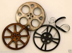 home theater wall art movie reels theatre decor retro room decor 285x26in - Home Theater Decor